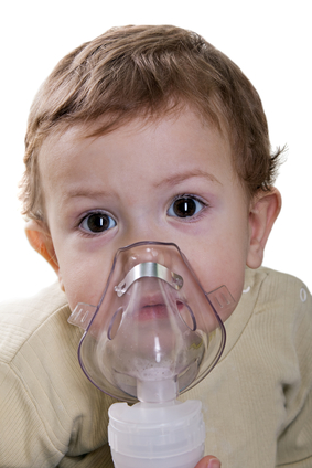 toddler with inhaler