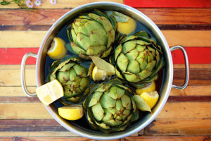 Steamed Artichokes with Lemon Sauce